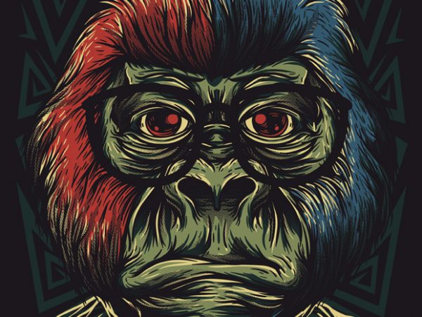 Nerd Monkey T shirt vector artwork