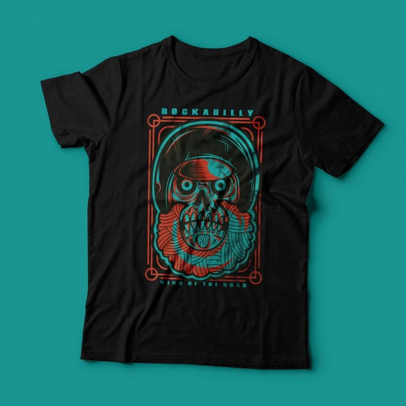 Rockabilly Skull buy t shirt design
